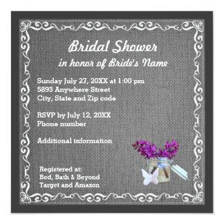 Charcoal Burlap, Purple Flowers, Jar Bridal Shower 13 Cm X 13 Cm Square Invitation Card