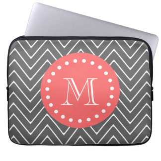 Charcoal Coral Chevron Pattern 2A Monogram Laptop Computer Sleeve
