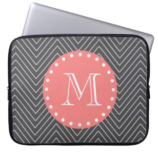 Charcoal Coral Chevron Pattern 2A Monogram Laptop Computer Sleeves