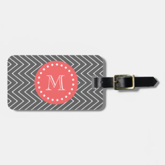 Charcoal Coral Chevron Pattern 2A Monogram Luggage Tag