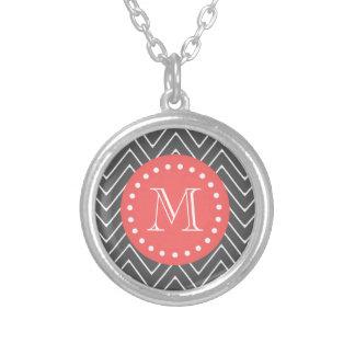Charcoal Coral Chevron Pattern 2A Monogram Round Pendant Necklace