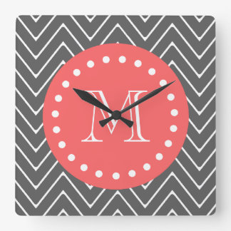 Charcoal Coral Chevron Pattern 2A Monogram Square Wall Clock