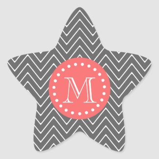 Charcoal Coral Chevron Pattern 2A Monogram Stickers