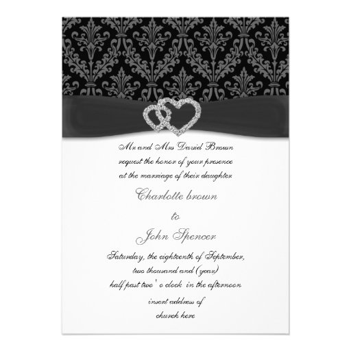 charcoal damask diamante wedding invitation