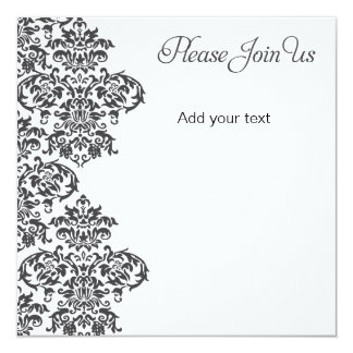 Charcoal Damask Party Card