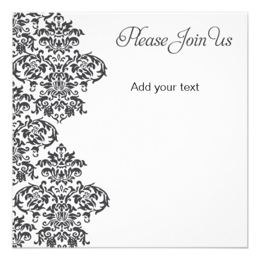 Charcoal Damask Party Personalized Announcement