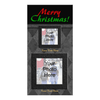 Charcoal Diamone Merry Christmas Personalized Photo Card