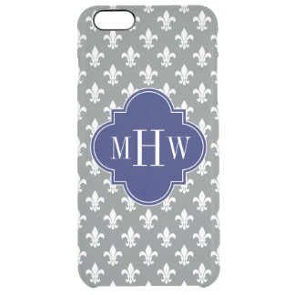 Charcoal Fleur de Lis Navy 3 Initial Monogram Clear iPhone 6 Plus Case