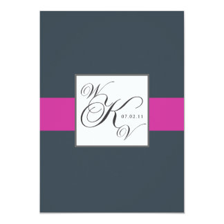 Charcoal Fuchsia Monograms Wedding Invitations