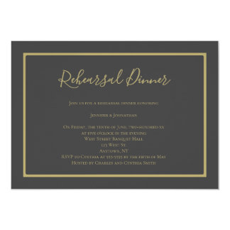 Charcoal gold modern rehearsal dinner invitations