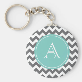 Charcoal Gray and Blue Chevron Custom Monogram Key Ring