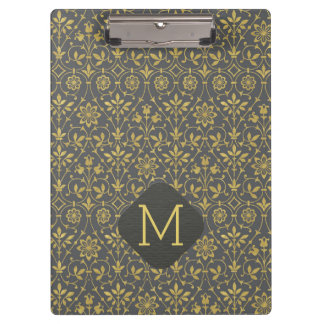 Charcoal Gray and Faux Gold Foil Floral Clipboard