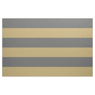 Charcoal Gray and Gold Wide Stripes Large Scale Fabric