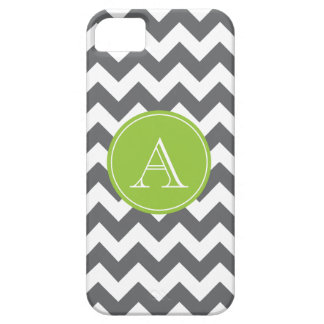 Charcoal Gray and Green Chevron Custom Monogram Barely There iPhone 5 Case