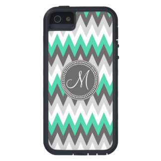 CHARCOAL GRAY AND GREEN CHEVRON iPhone 5 CASE