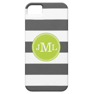 Charcoal Gray and Green Wide Stripe Monogram Case For The iPhone 5