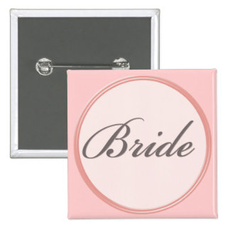 Charcoal gray and light pink Bride Button