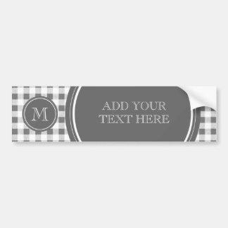 Charcoal Gray and White Gingham, Your Monogram Bumper Sticker