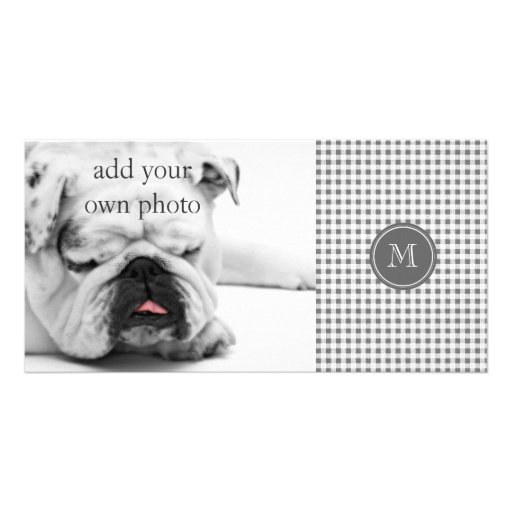 Charcoal Gray and White Gingham, Your Monogram Personalized Photo Card