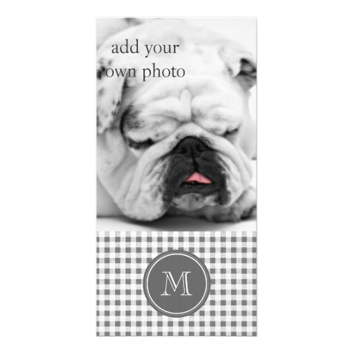 Charcoal Gray and White Gingham, Your Monogram Custom Photo Card