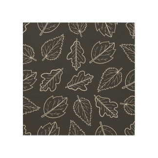 Charcoal Gray and White Leaf Pattern Wood Wall Decor