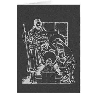 Charcoal Gray and White Nativity Scene Card