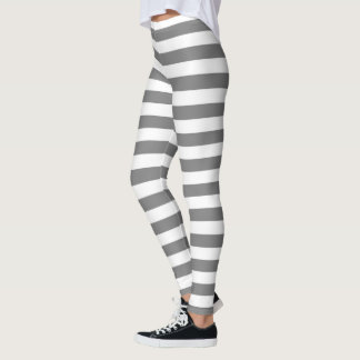 Charcoal Gray and White Stripes Leggings