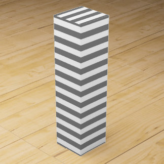 Charcoal Gray and White Stripes Wine Gift Box