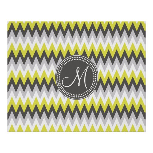 CHARCOAL GRAY AND YELLOW CHEVRON POSTER