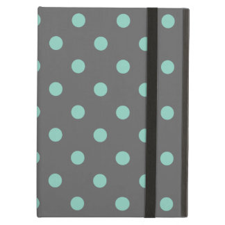 Charcoal Gray & Aqua Cute Modern Polka Dots iPad Air Cover