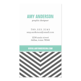 Charcoal Gray & Aqua Modern Chevron Stripes Double-Sided Standard Business Cards (Pack Of 100)