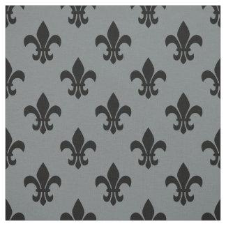 Charcoal Gray, Black Fleur De Lis Pattern Sz6 Fabric