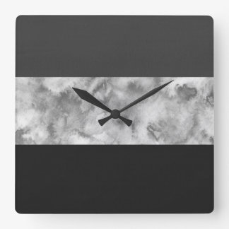 Charcoal Gray Block Stripes Square Wall Clock