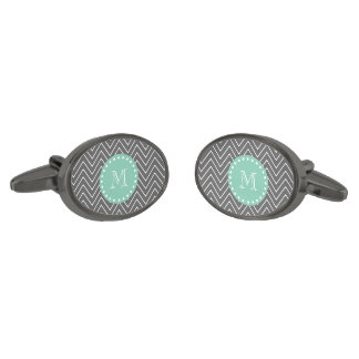 Charcoal Gray Chevron Pattern  Mint Green Monogram Gunmetal Finish Cuff Links