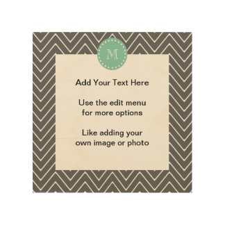 Charcoal Gray Chevron Pattern  Mint Green Monogram Wood Canvases