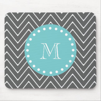 Charcoal Gray Chevron Pattern | Teal Monogram Mouse Pad