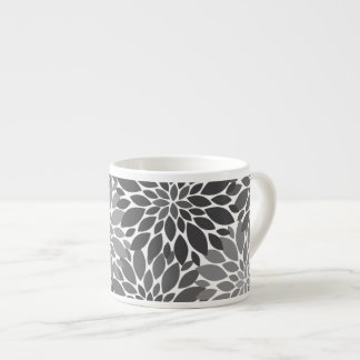Charcoal Gray Chrysanthemums Floral Pattern Espresso Cup