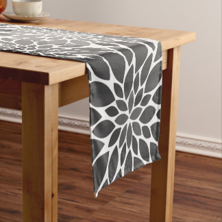 Charcoal Gray Chrysanthemums Floral Pattern Short Table Runner