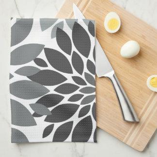 Charcoal Gray Chrysanthemums Floral Pattern Tea Towel