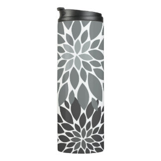 Charcoal Gray Chrysanthemums Floral Pattern Thermal Tumbler