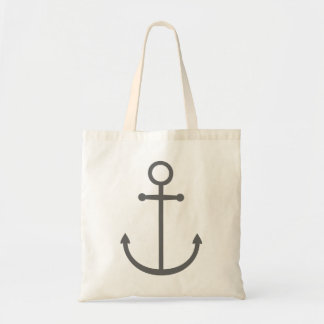 Charcoal Gray Cute Preppy Nautical Anchor Tote Bag