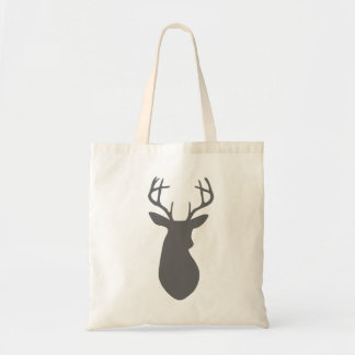Charcoal Gray Deer Head Silhouette Tote Bag