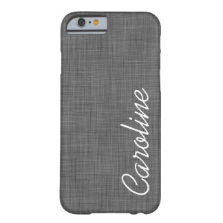 Charcoal Gray Faux Linen Texture Custom Monogram Barely There iPhone 6 Case