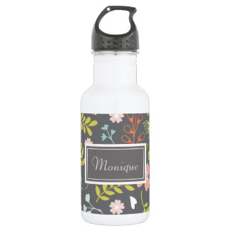 Charcoal Gray Floral Patterned Custom Water Bottle