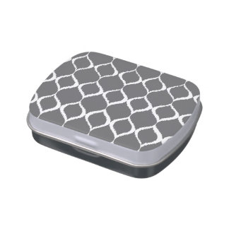 Charcoal Gray Geometric Ikat Tribal Print Pattern Jelly Belly Candy Tin