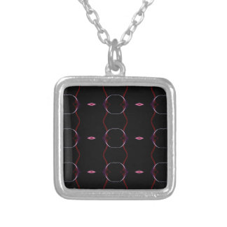 Charcoal Gray Hot Pink Seamless Pattern Silver Plated Necklace