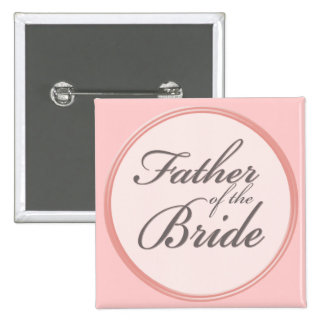 Charcoal gray light pink Father of the Bride 15 Cm Square Badge