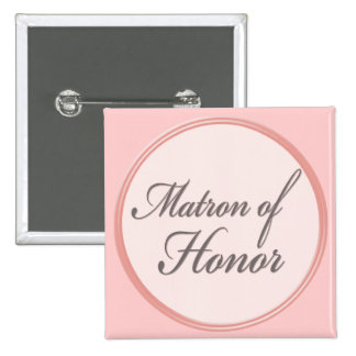 Charcoal gray light pink Matron of Honor button