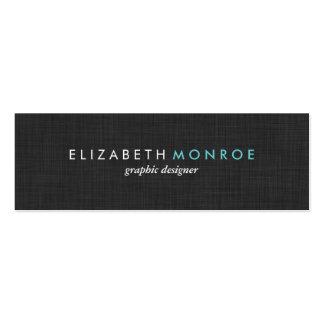 Charcoal Gray Linen Texture Sleek Simple Business Card Template