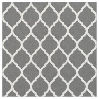 Charcoal Gray Moroccan Quatrefoil Fabric